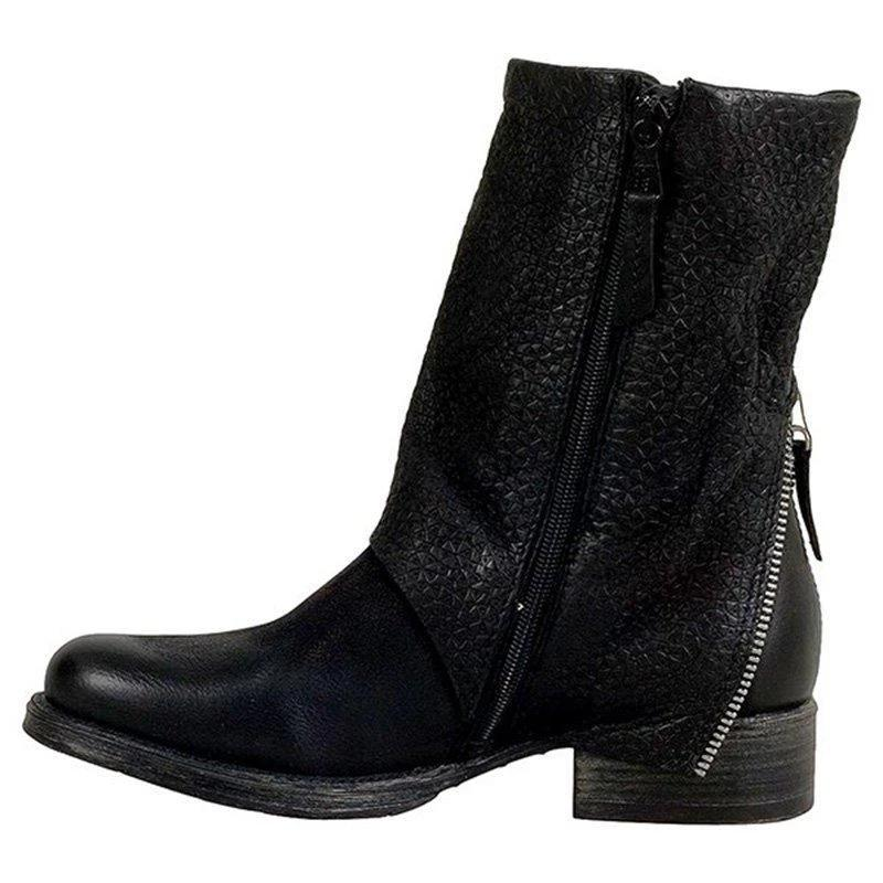 Retro Zipper Spring/Fall Ankle Boots