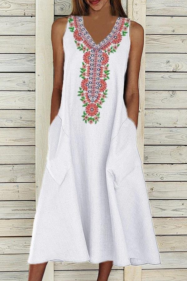 Floral Embroidery Sleeveless V-neck Holiday Midi Dress