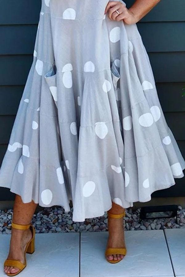 Polka Dots Print Sleeveless Paneled Casual Frill Maxi Dress