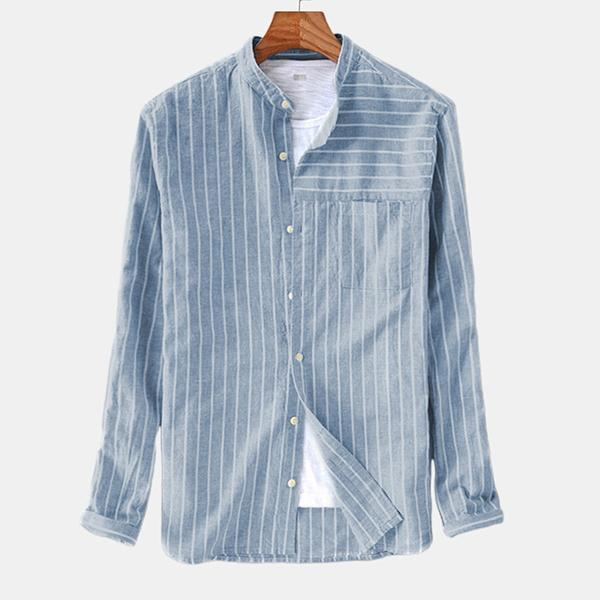 Men Striped Vintage Breathable Loose Fit Fashion Shirts