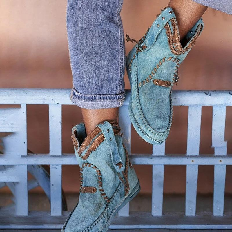 Bohemian Style Casual Blue Boots