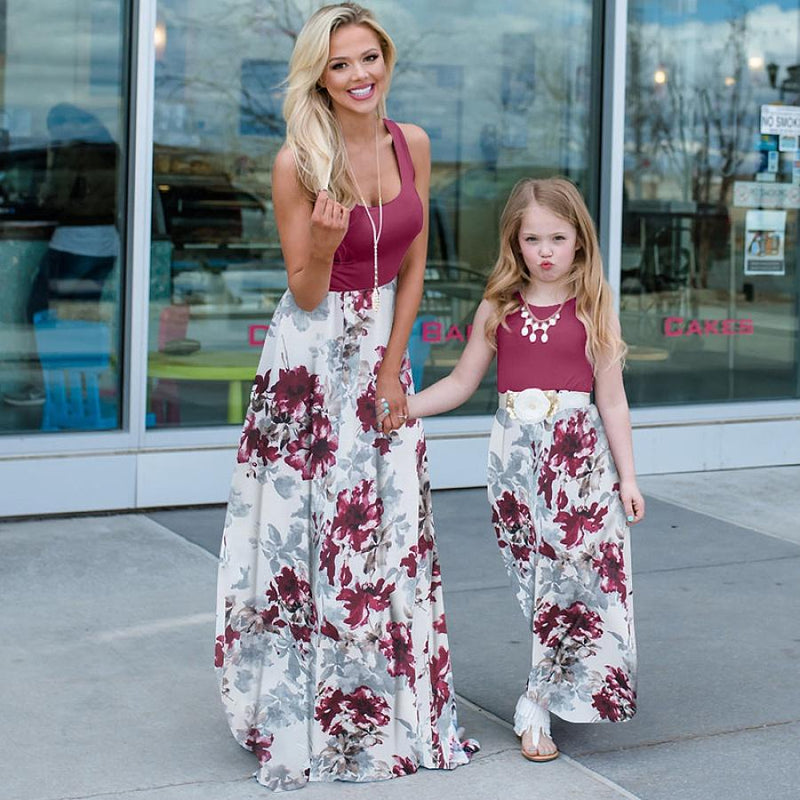 Mommy and Me Floral Multi-color casual A Matching Dresses