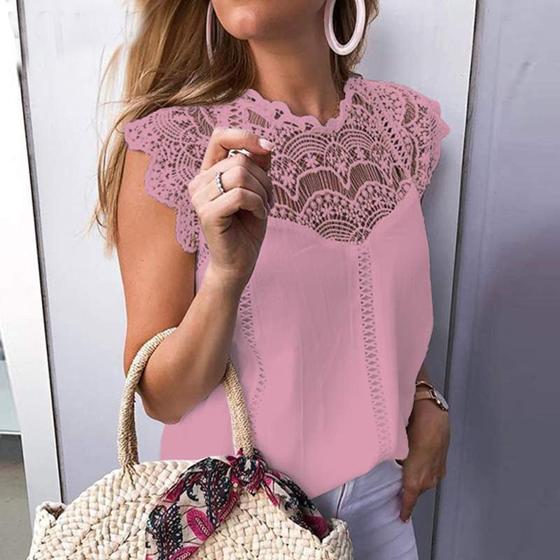 Women Blouse Sexy Sleeveless Lace OL Office Ladies Shirt Hollow Party Tops