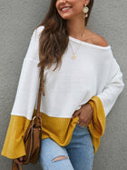Splicing Color Trumpet Sleeve Sweater
