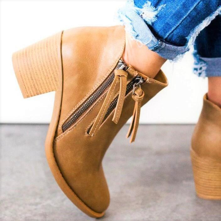 Women Zipper Chunky Heel Ankle Boots