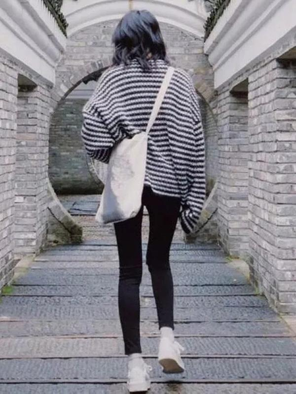 Fashion Striped Long Sleeves Knitting Loose Sweater Tops