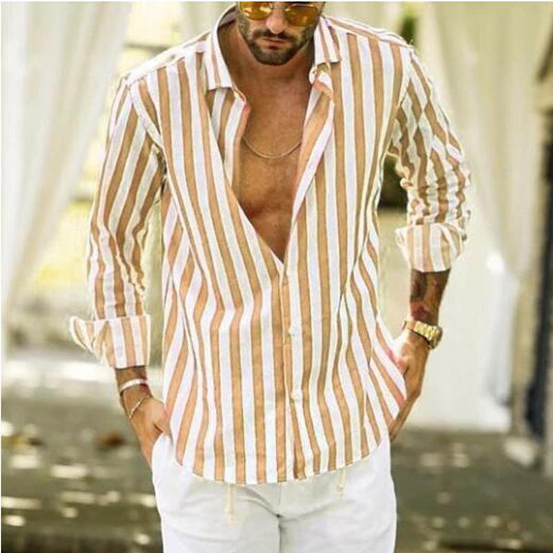Men's Long Sleeve Striped Casual Shirts
