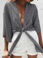 Striped Bandage Seven-quarter Sleeves Blouses