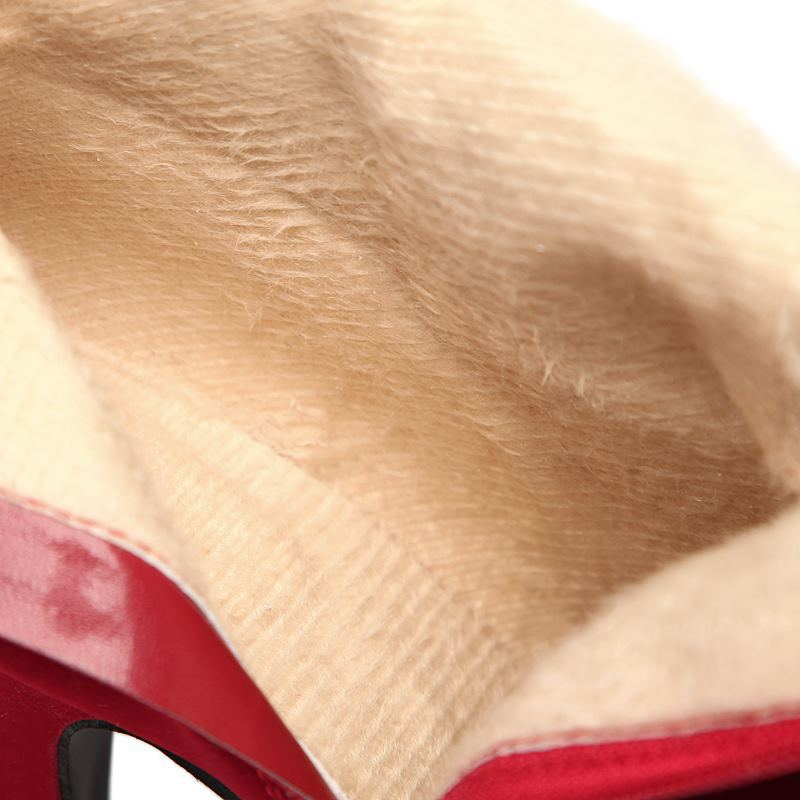 Large Suede Button High Heel Short Boots Red Cotton Boots