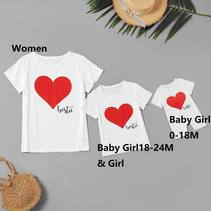 Mommy and Me Round collar Heart-shaped Short Sleeve Matching Tops