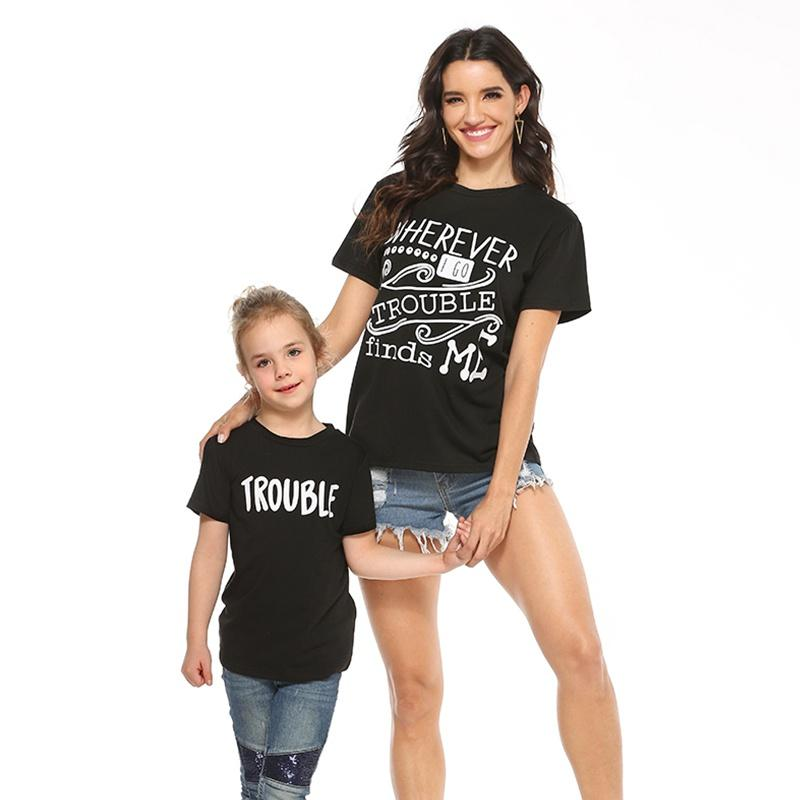 Mommy and Me Round collar Letter Black Short Sleeve Matching Tops