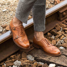 Men's Carved Business Leather Monk Shoes