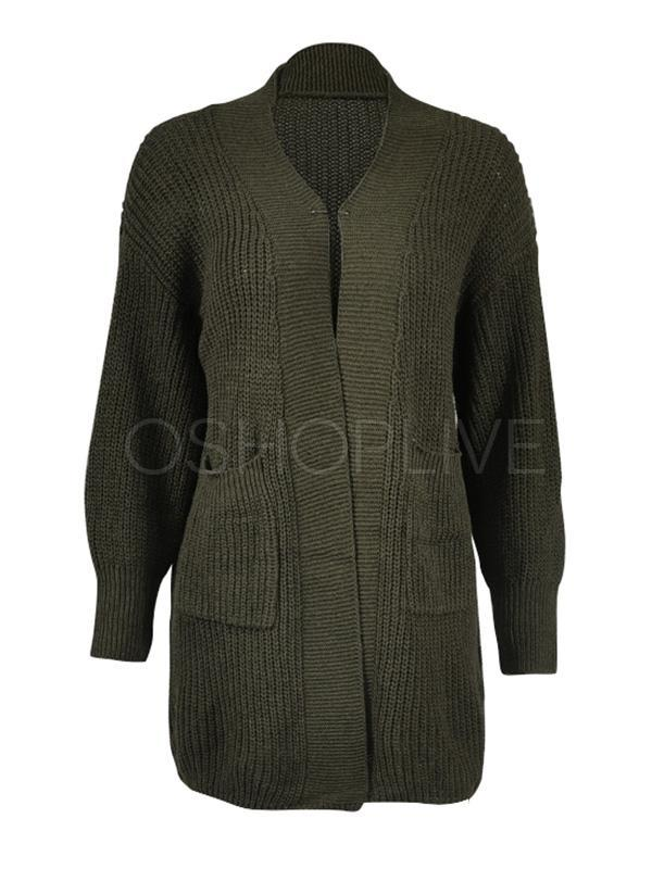 Three-color Long-sleeved Knit Sweater Coat