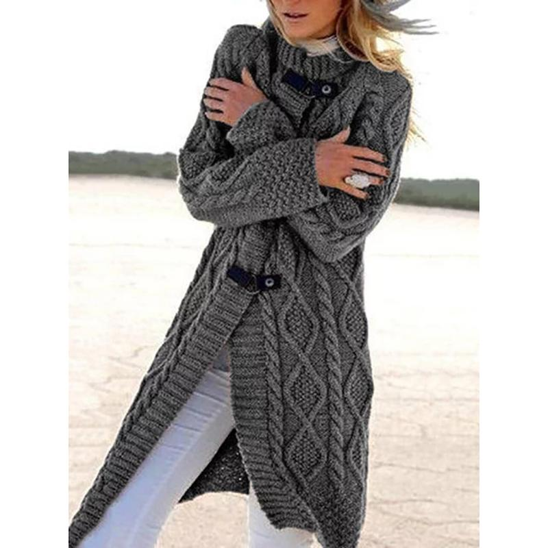 Women Long Sleeves Solid Sweater Outerwear