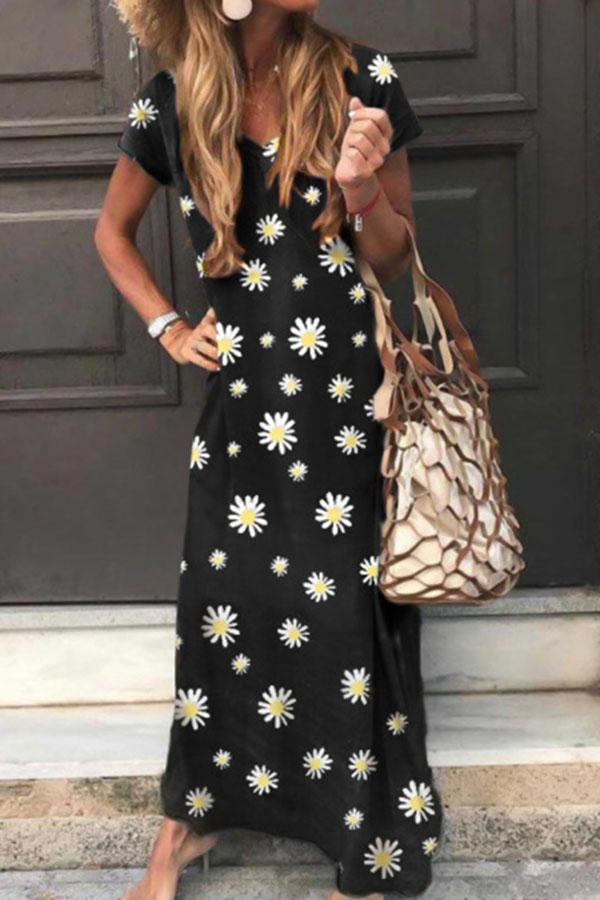 Daisy Print V-neck Paneled Short Sleeves Holiday Maxi Dress