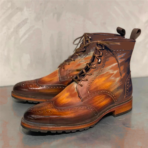 Bullock Carved Genuine Leather Vintage Rub Color Martin Boots