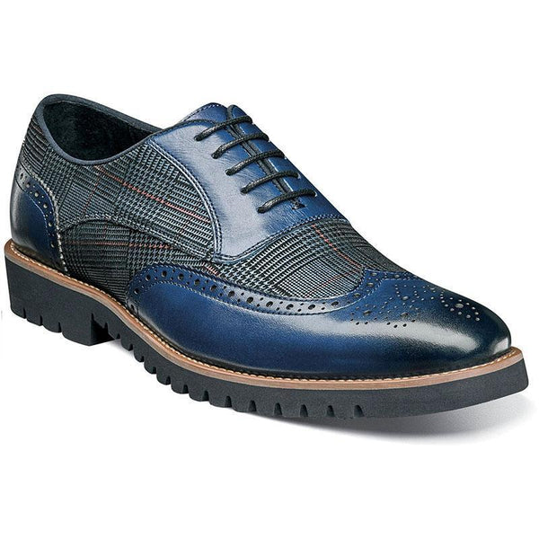 Men's Fashion Lattice Spliced Leather Brogue Shoes
