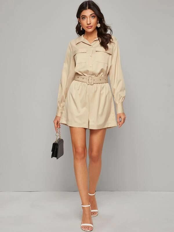 Adjustable Belted Button Front Utility Romper