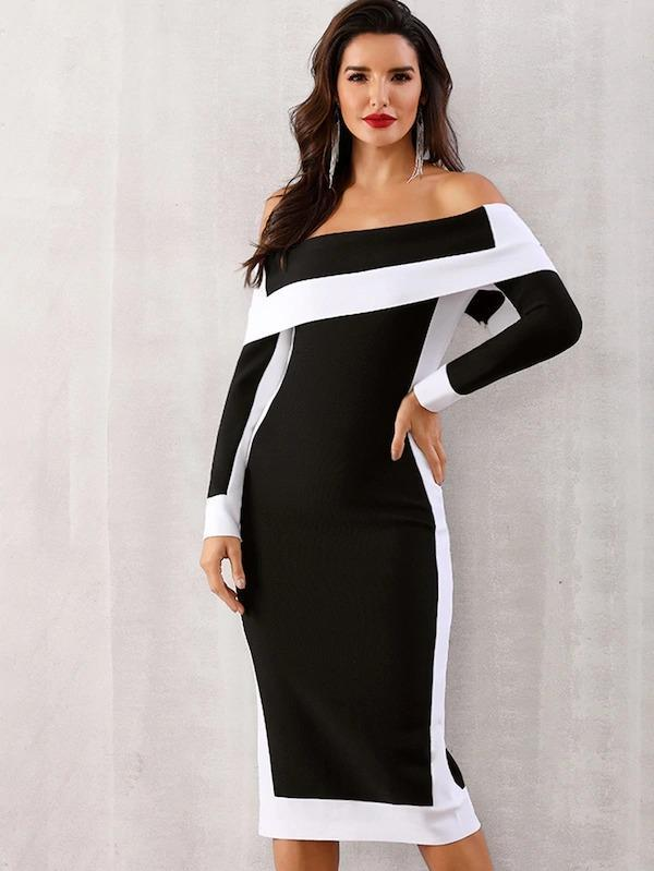 Adyce Off Shoulder Color-Block Bodycon Dress