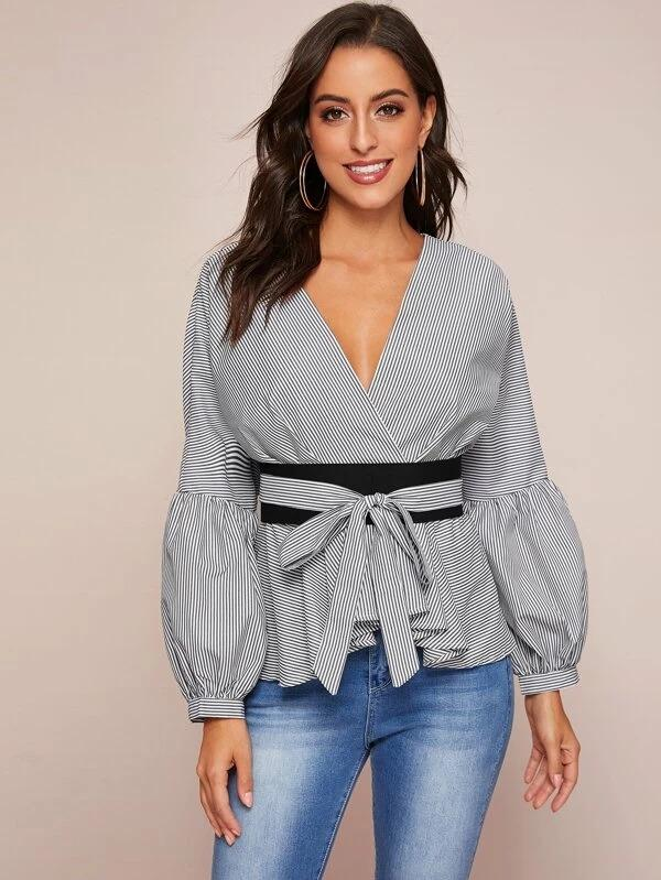 Women Bishop Sleeve Striped Belted Peplum Top