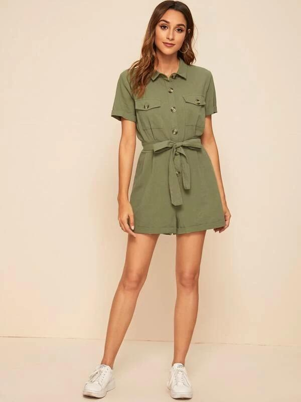 Button Front Self Tie Shirt Romper