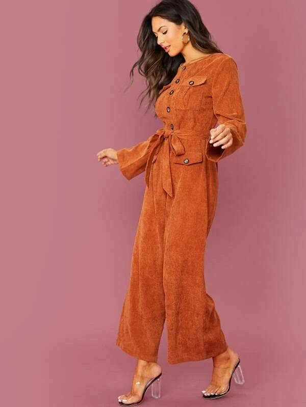 Buttoned Flap Pocket Self Belted Wide Leg Cord Jumpsuit