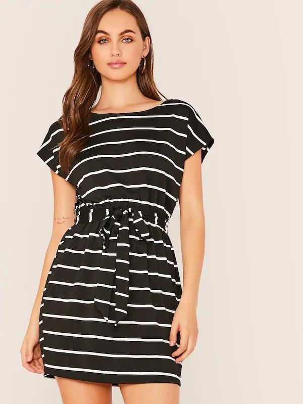 Cap Sleeve Striped Pencil Dress
