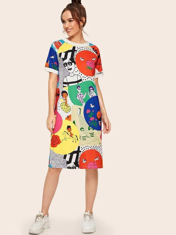Cartoon & Letter Print Tee Dress