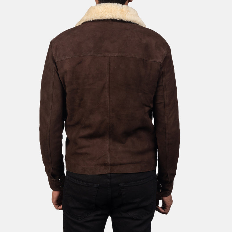 Coffee Brown Shearling Fur Goat Skin Fully faux fur lined Suede Zipper Jacket