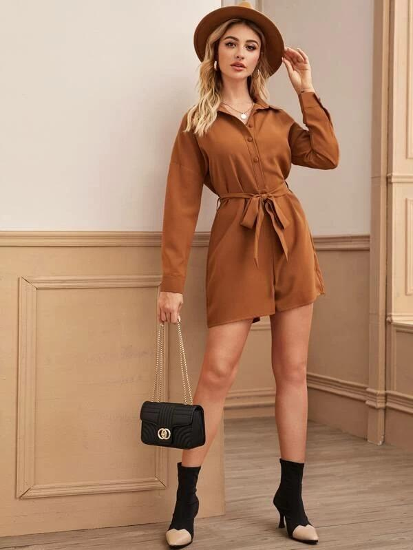 Covered Button Self Tie Shirt Romper