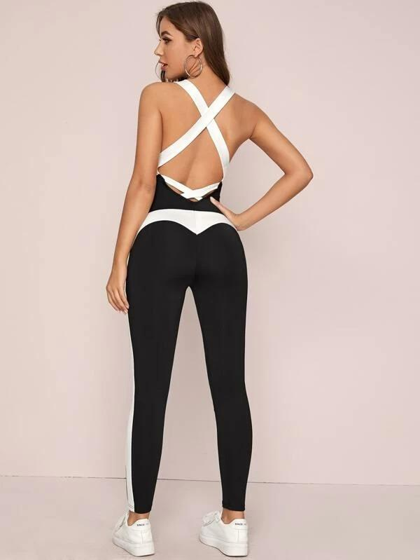 Crisscross Backless Colorblock Unitard Jumpsuit