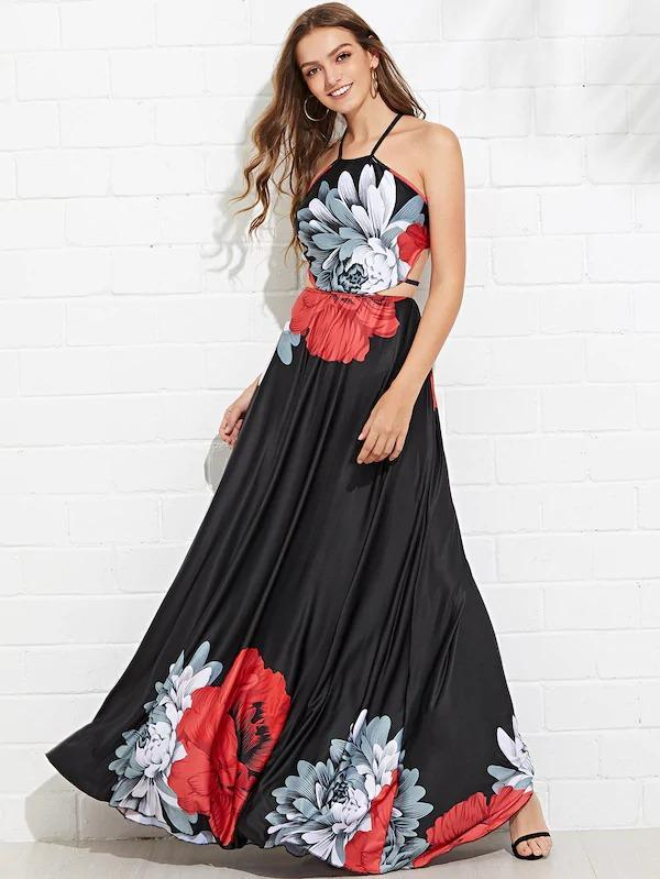 Cross Back Floral Maxi Dress