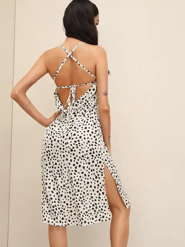 Dalmatian Print Criss-Cross Tie Back Split Hem Dress