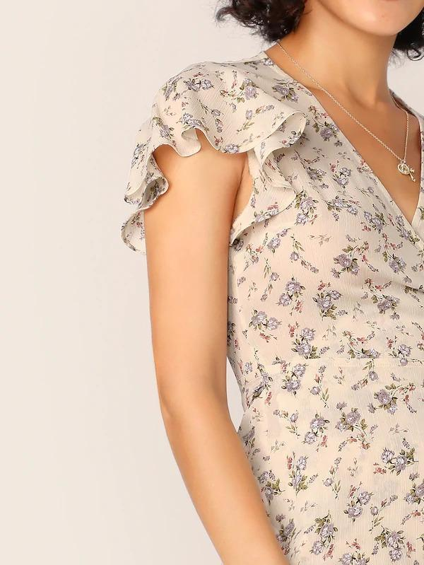 Ditsy Floral Flutter Sleeve Wrap Top