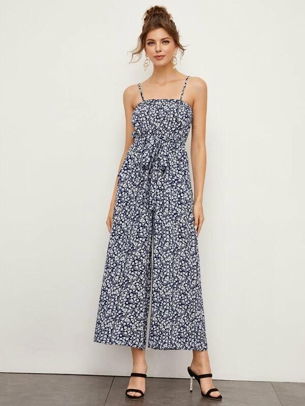 Ditsy Floral Print Belted Cami Jumpsuit