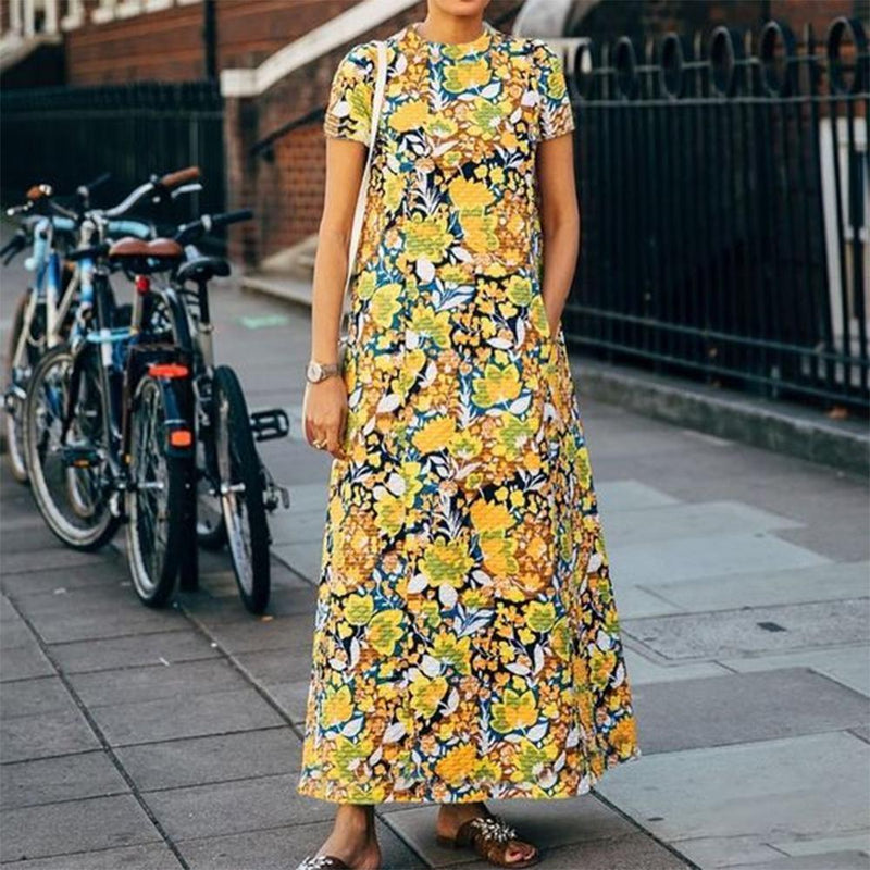 Vintage Print Round Neck Short Sleeve Maxi Dress
