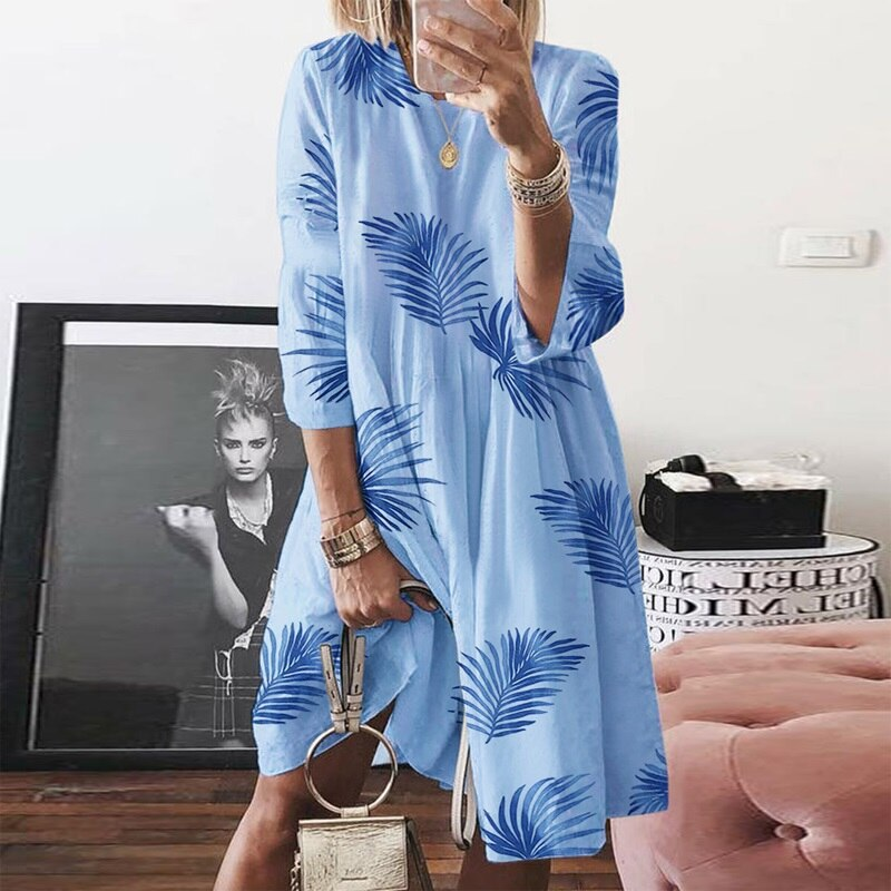 Vintage O Neck Floral Print Dress Women Three Quarter Sleeve Midi Dress Plus Size Dress