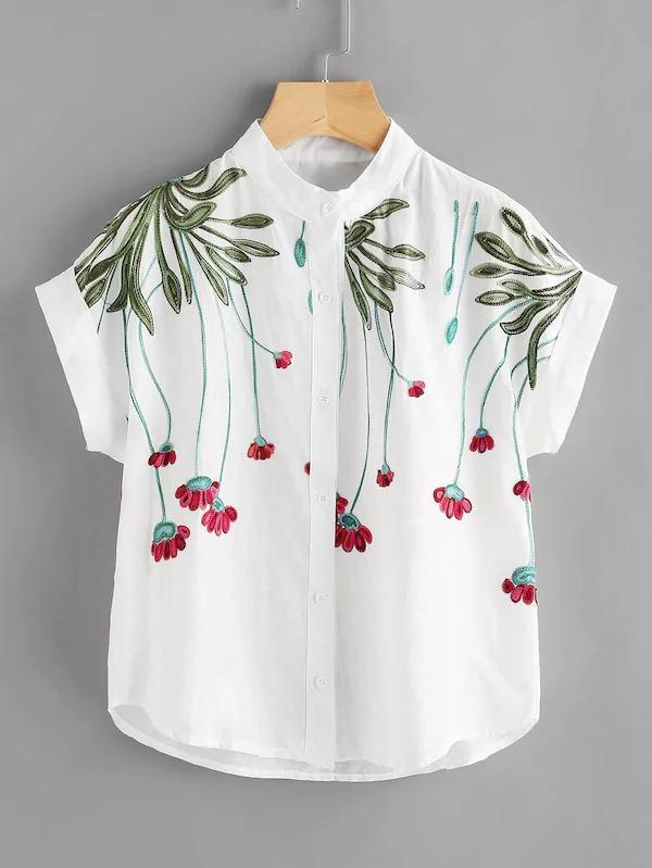 Floral Embroidery Rolled Sleeve Blouse
