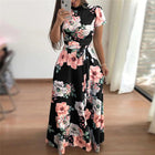 Corachic.com - Long Maxi Dress Floral Print Boho Style Beach Dress Casual Short Sleeve Bandage Dress - Dresses