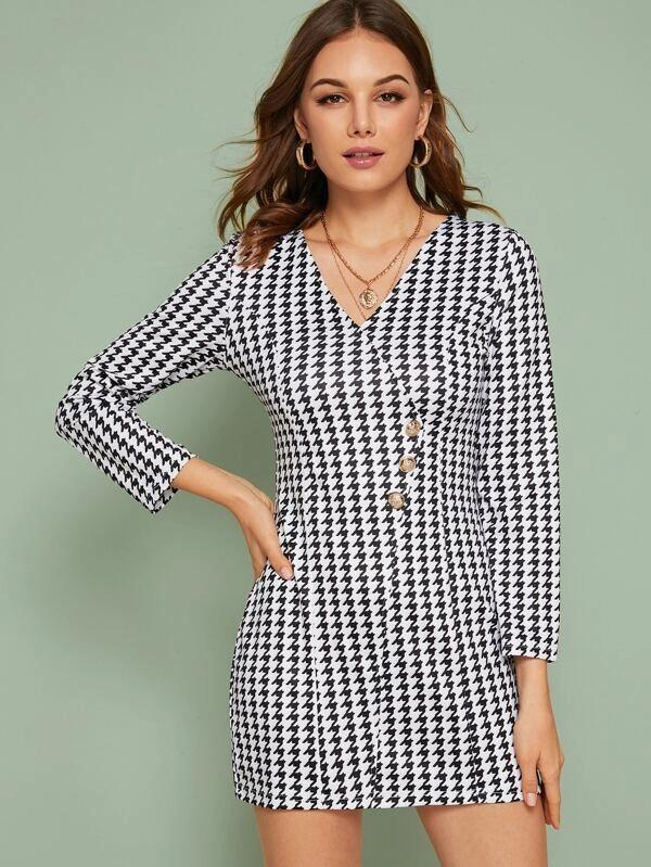 Houndstooth Zip Back Bodycon Dress