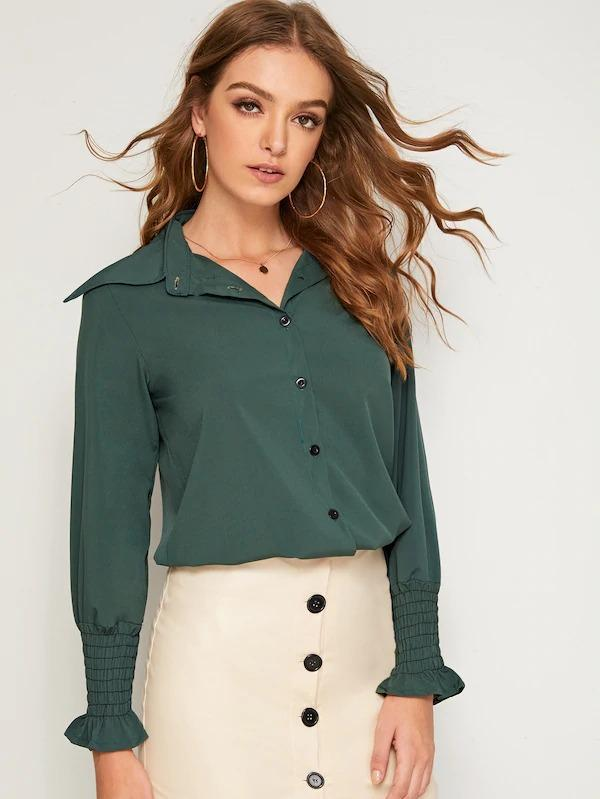 Leg-Of-Mutton Sleeve Shirred Cuff Single Breasted Blouse