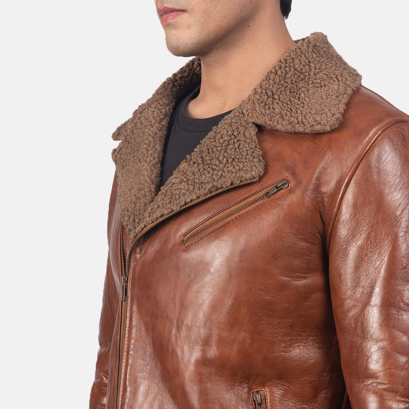 Black White / Black / Brown Color Shearling Leather Sheepskin Semi-aniline Fully Faux Fur Lined Zipper Jacket