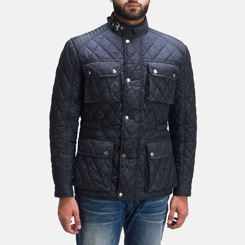 Nelson Quilted Windbreaker Filling lightly padded Zipper with Front Button Flap Belted Band Jacket