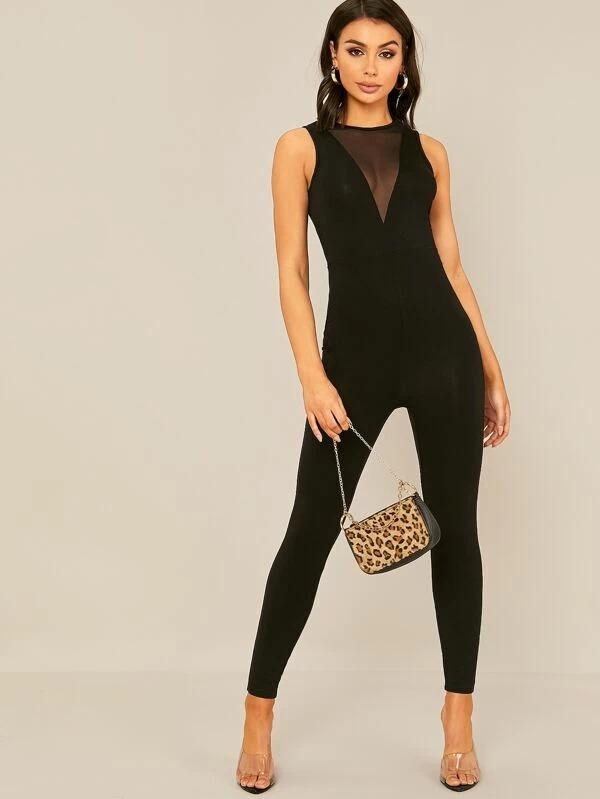 Mesh Insert Form Fitted Sleeveless Jumpsuit