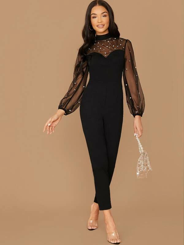 Mock-Neck Pearls Beaded Mesh Shoulder Jumpsuit