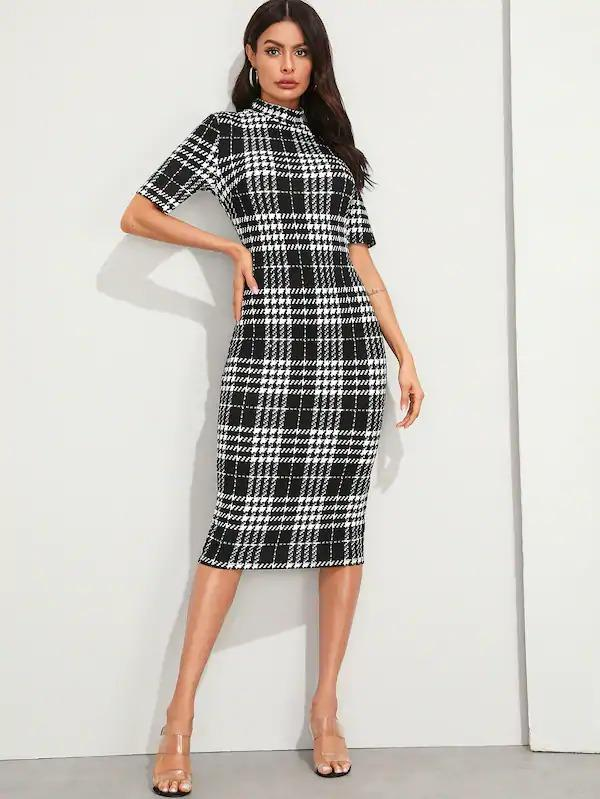 Mock Neck Plaid Pencil Dress