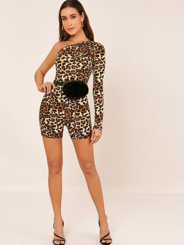 One Shoulder Leopard Romper