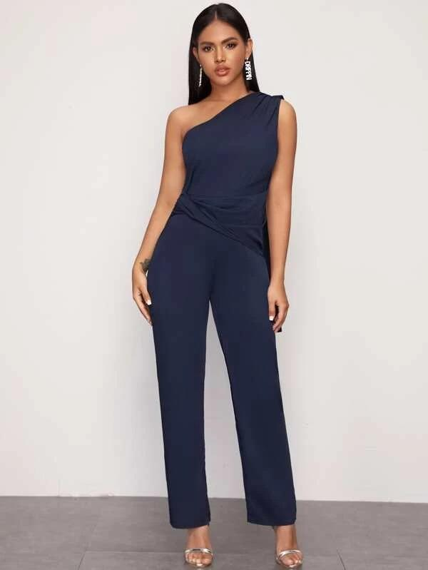 One Shoulder Twist Front Solid Jumpsuit