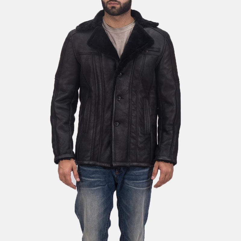 Furcliff Double Face Shearling Leather Notch Open Hem Black Coat