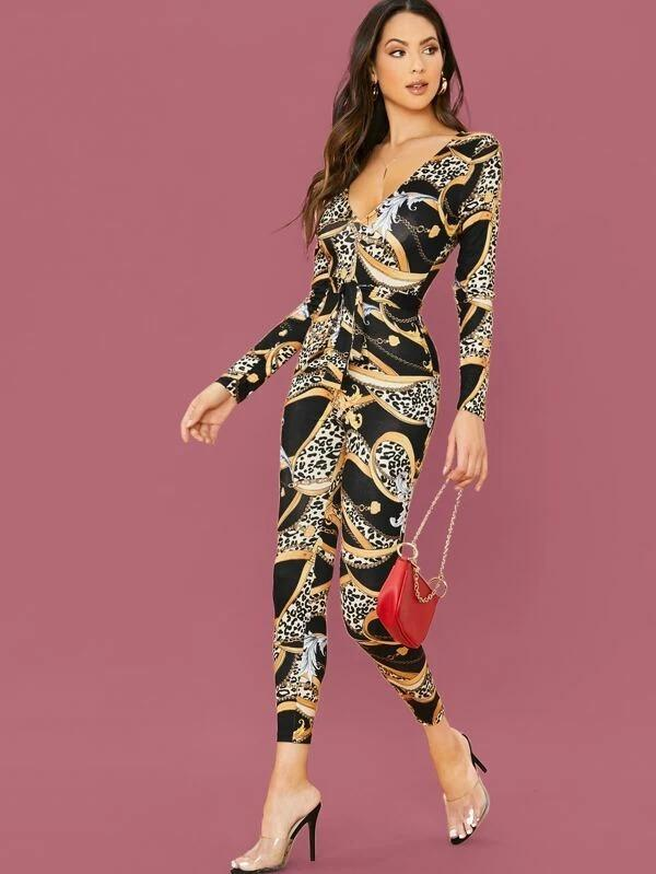 Plunge Neck Belted Chain Print Unitary Jumpsuit
